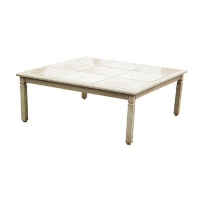 Aluminum Tile Top Patio Coffee Table