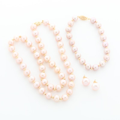 14K Yellow Gold Cultured Pearl Necklace, Bracelet and Earring Set