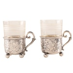 Wilhelm Binder German 800 Silver Tea Glass Holders, Late 19th Century
