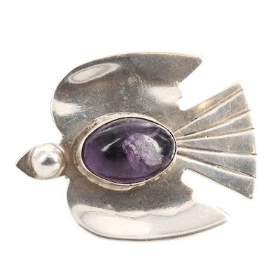 Mexican Sterling Silver Amethyst Bird Brooch