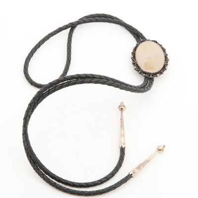 F. Peshlakai Navajo Diné Sterling Silver Agate Bolo Tie