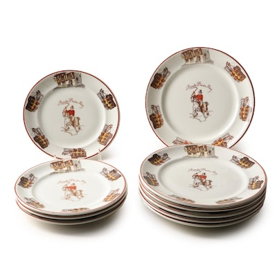 """Theodore Haviland Limoges France """"Roule Paris Nice"""" Luncheon and Dessert Plates"""