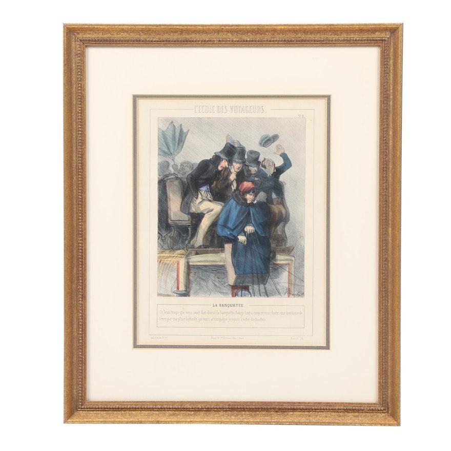 """Lithograph After Henri Bouchot """"La Banquette"""""""