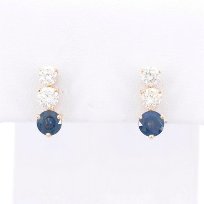 14K Yellow Gold Diamond and Sapphire Stud Earrings
