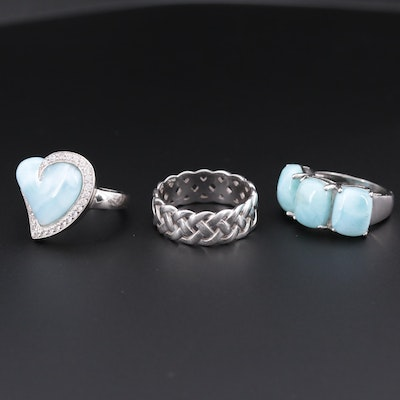 Sterling Silver Rings with Larimar and White Sapphire