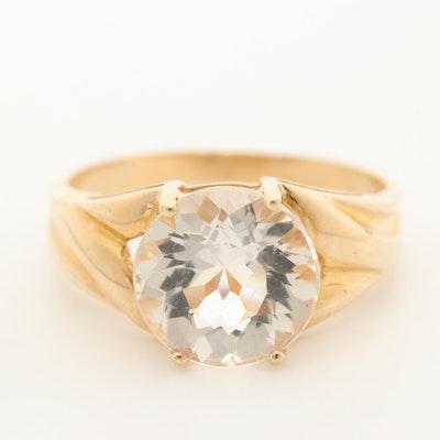 14K Yellow Gold Rock Quartz Crystal Ring
