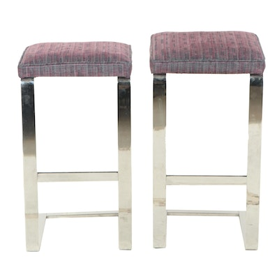 Pair of Cantilever Chrome Barstools, Mid to Late 20th Century