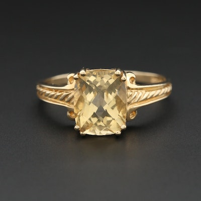 14K Yellow Gold Heliodor Ring