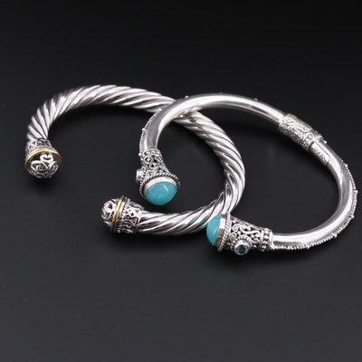 Sterling Cuff Bracelet and Sarda Cuff Bracelet with Chalcedony and Blue Topaz