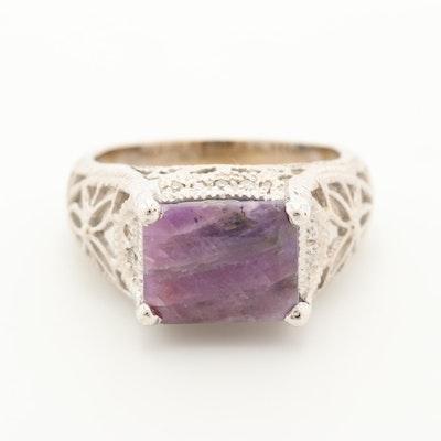 Vintage 14K White Gold Corundum and Diamond Openwork Ring