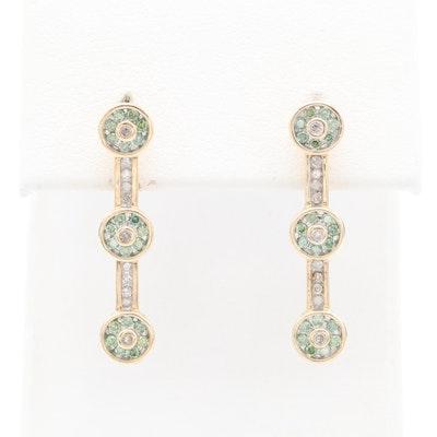 14K Yellow Gold Diamond Drop Earrings with Green Diamonds