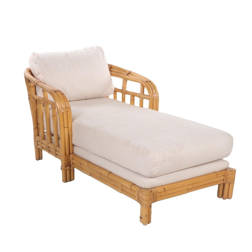Rattan Patio Chaise Lounge with Ralph Lauren Cushions