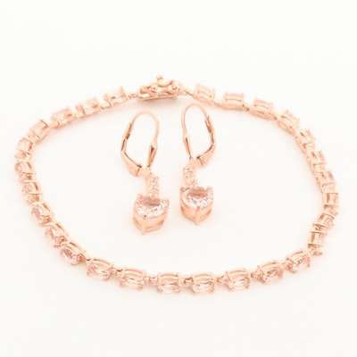 Sterling Silver Morganite and Cubic Zirconia Bracelet and Earrings