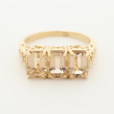 14K Yellow Gold Citrine Ring with Scroll Accents