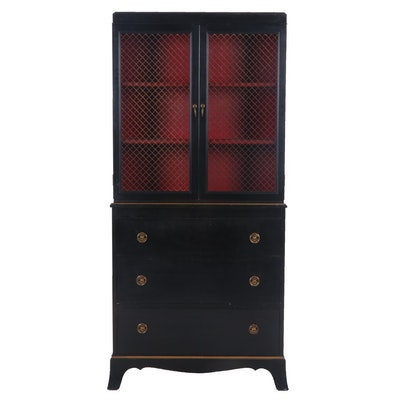 Contemporary Ebonized Federal Style Painted Wood China Cabinet