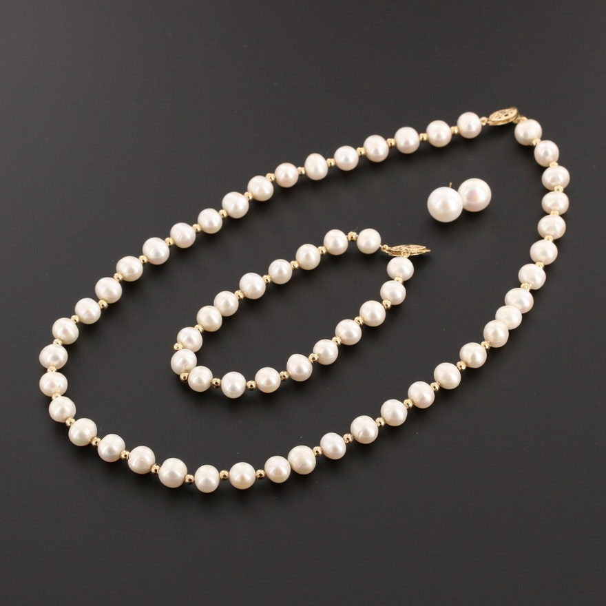 Cultured Pearl Necklace, Bracelet and Earrings with 14K Yellow Gold Findings