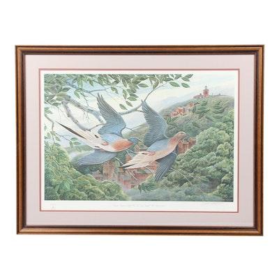 """John A. Ruthven Offset Lithograph """"Passenger Pigeons in Flight Over..."""""""