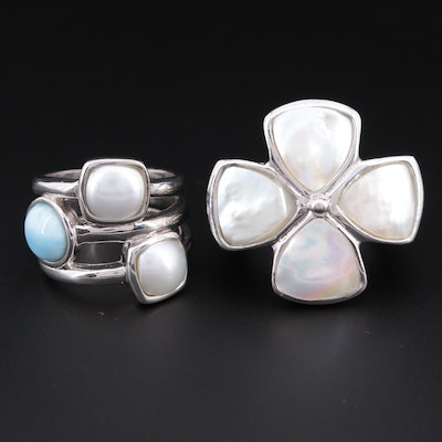 Sterling Silver Rings with Cultured Mabé Pearl, Mother of Pearl and Larimar