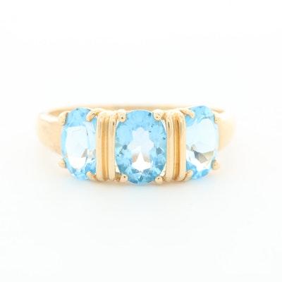 14K Yellow Gold Blue Topaz Three Stone Ring