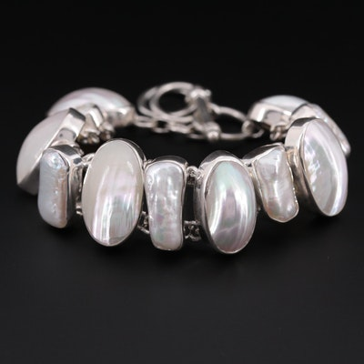 Sterling Silver Cultured Pearl and Mother of Pearl Adjustable Bracelet