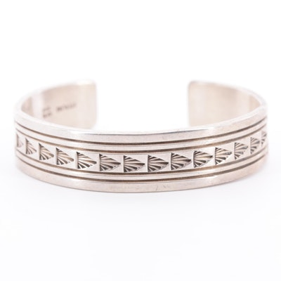 Ken and Mary Bill, Navajo Diné Sterling Silver Cuff Bracelet