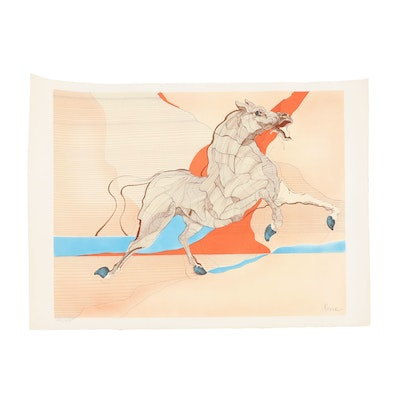 Rearing Horse Colored Lithograph