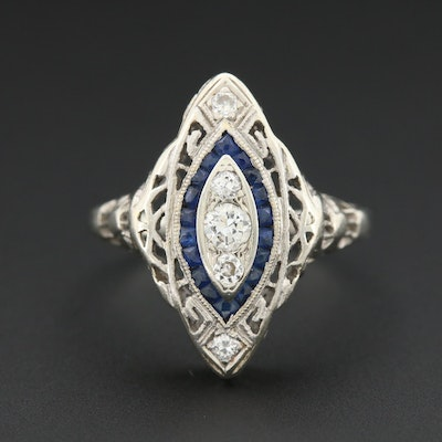 Art Deco 18K White Gold Diamond and Sapphire Ring with Open Work Motif