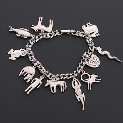 Silver Tone Animal Charm Bracelet