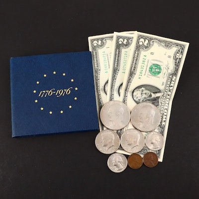 Group of U.S. Bicentennial Coins and Currency, Including Silver