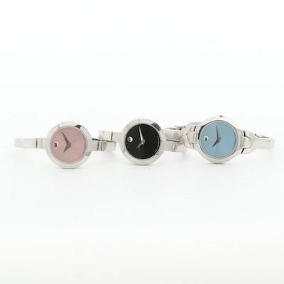 Movado Kara and Two Bela Stainless Steel Quartz Wristwatches