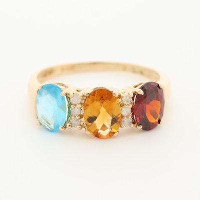 14K Yellow Gold Citrine, Glass and Diamond Ring