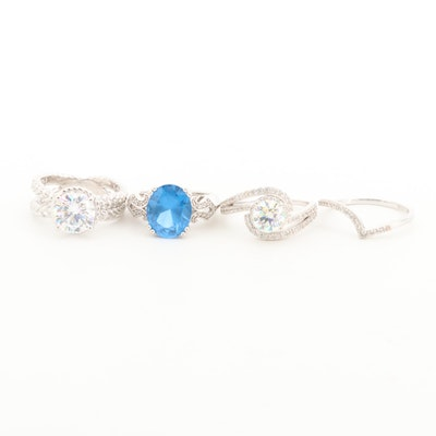 Sterling Silver Rings with Topaz, Cubic Zirconia and Strontium Titanate