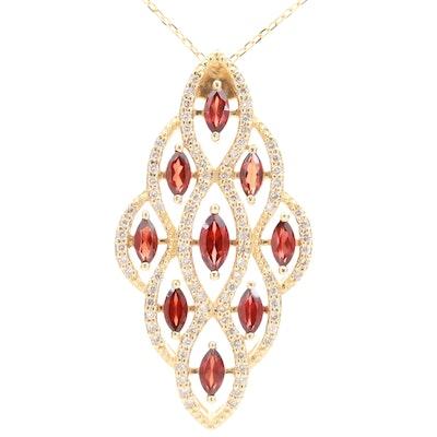 14K Yellow Gold Garnet and Diamond Pendant Necklace