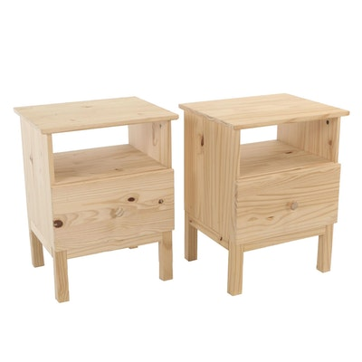 "IKEA, Pair of ""Tarva"" Pine One-Drawer Nightstands"