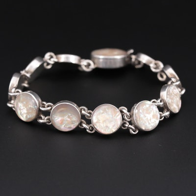 Vintage Sterling Silver Abalone Bracelet