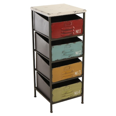 Linon Home Decor Products, Industrial Style Polychromed Metal Four-Drawer Chest