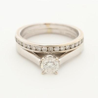 14K White Gold Diamond Bridal Ring Set