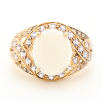 10K Yellow Gold Opal, Cubic Zirconia and Diamond Ring
