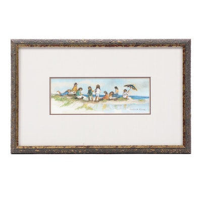 Robert Fabe 1997 Watercolor Painting of Seascape with Children