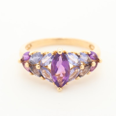 14K Yellow Gold Amethyst and Tanzanite Ring