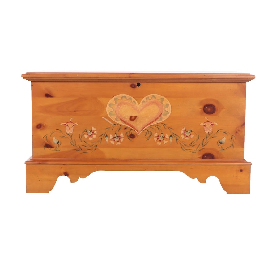 Lane Paint-Decorated Wood Pine and Cedar Chest