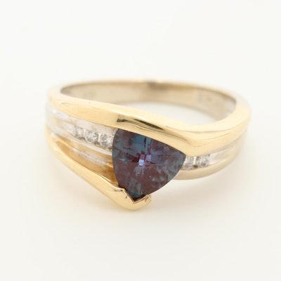 14K Yellow Gold Mystic Topaz and Diamond Ring