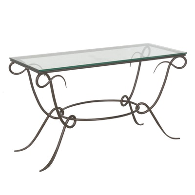 Bent Metal Console Table with Glass Top from Arhaus