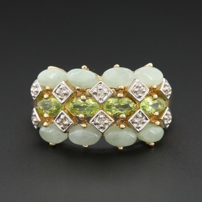 14K Yellow Gold Peridot, Jadeite and Diamond Ring