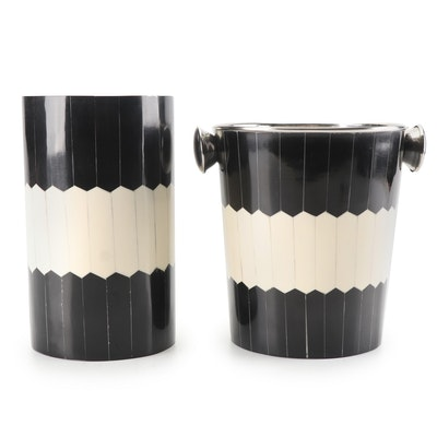 Art Deco Style Enameled Ice Bucket and Wine Cooler