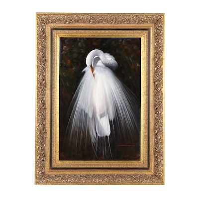 Great White Egret Oil Painting