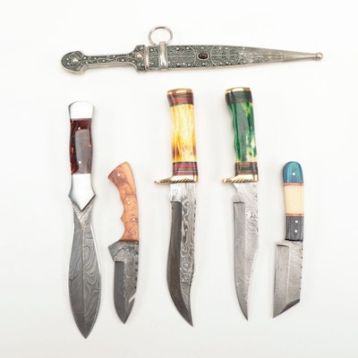 Damascus Steel Fixed Blade Knives and an Ornate Dagger