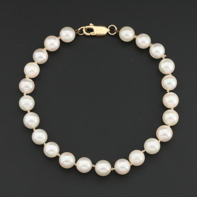 Knotted Cultured Pearl Bracelet with 14K Yellow Gold Clasp