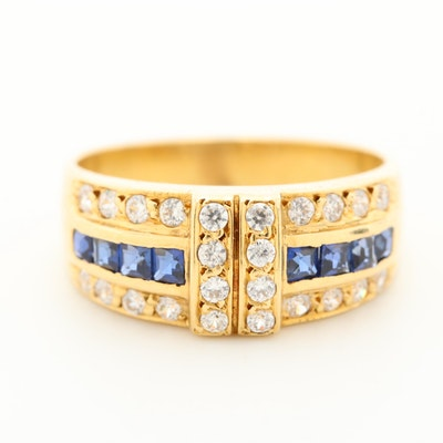 18K Yellow Gold Cubic Zirconia and Blue Sapphire Tapered Band