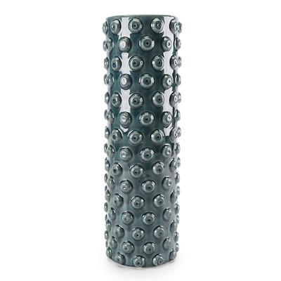 Blue Glazed Hobnail Style Ceramic Vase, Contemporary